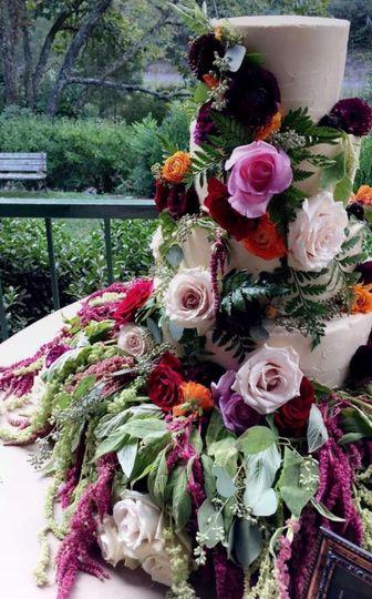 Wedding cake with big floral design