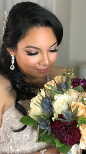 Bride with glittery eye shadow