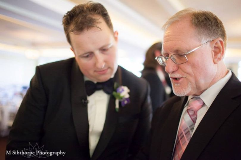 Steve speaking to a groom