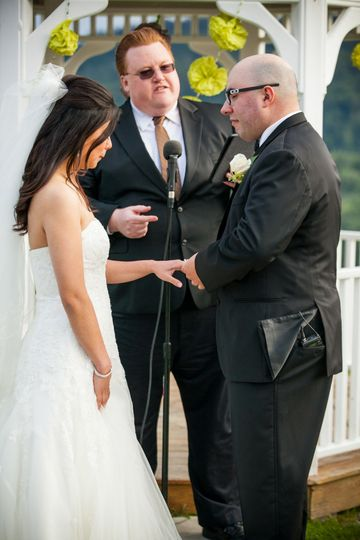 Couple reciting wedding vows