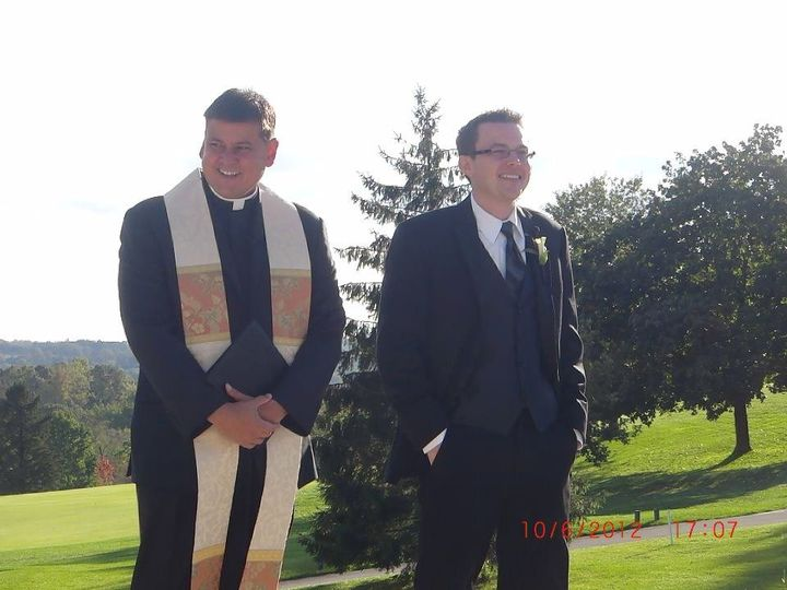 The pastor and the groom