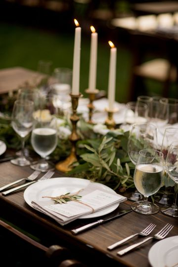 Olive leaf garlands wedding