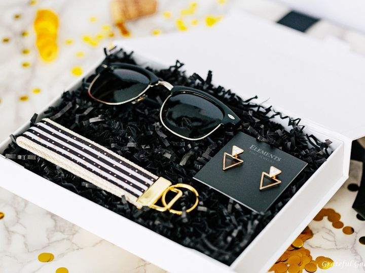 Tmx Classy Modern Bridesmaid Gift Box For Her Wedding Proposal Black Gold Sunglasses Earrings Keychain 51 1040569 1566585373 Charlotte, NC wedding favor