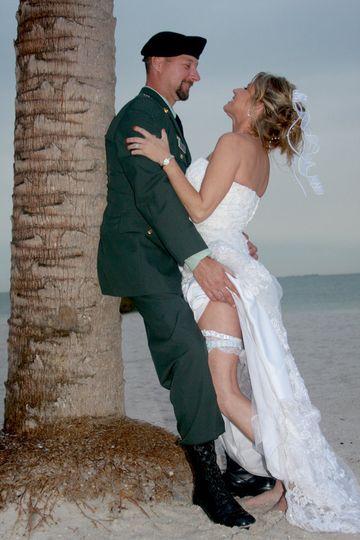 Military Beach wedding in Tarpon Springs Florida.