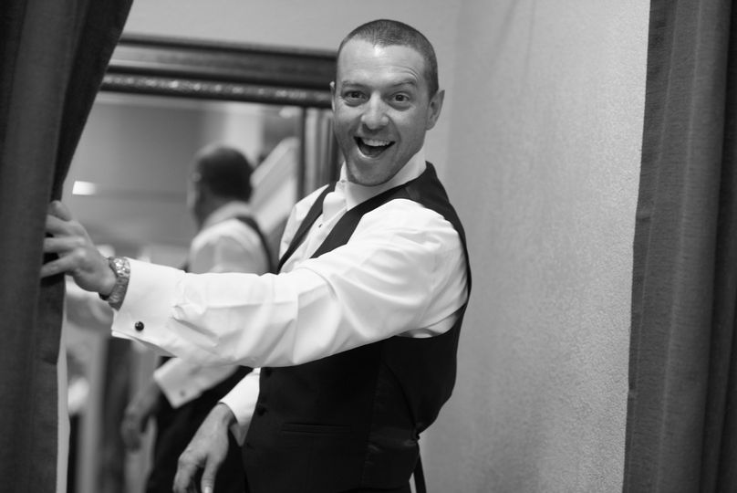 The groom in black and white
