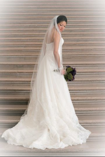 Bridal photo by the stairs