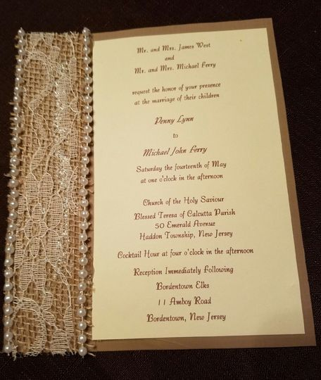 pearl lace burlap invitation