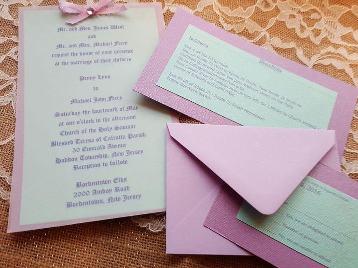 Tmx 1456363368230 Penny Finished Invitations Bordentown wedding invitation