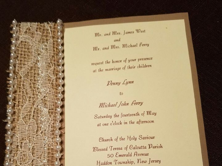 Tmx 1470936078215 Pearl Lace Burlap Invitation Bordentown wedding invitation