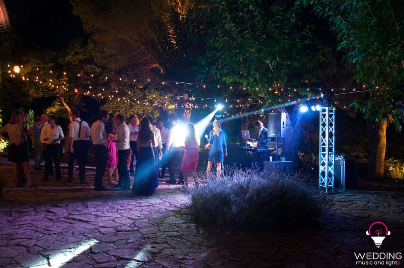 Wedding part DJ architectural lighting string lights - Tuscany - Italy