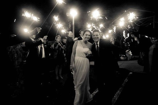Couple's entrance with sparkler