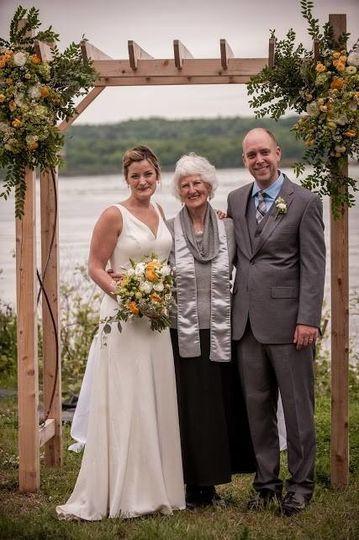 Under the wedding arch