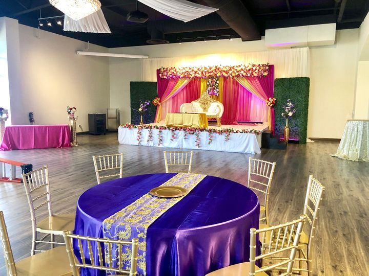Stage, Linens, Chairs
