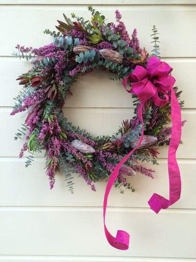 Wreath with protea, heather and eucalyptus. Fabulous focal point!