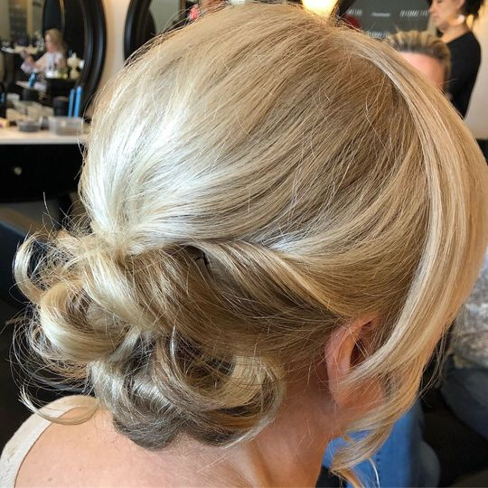 Low, messy updo