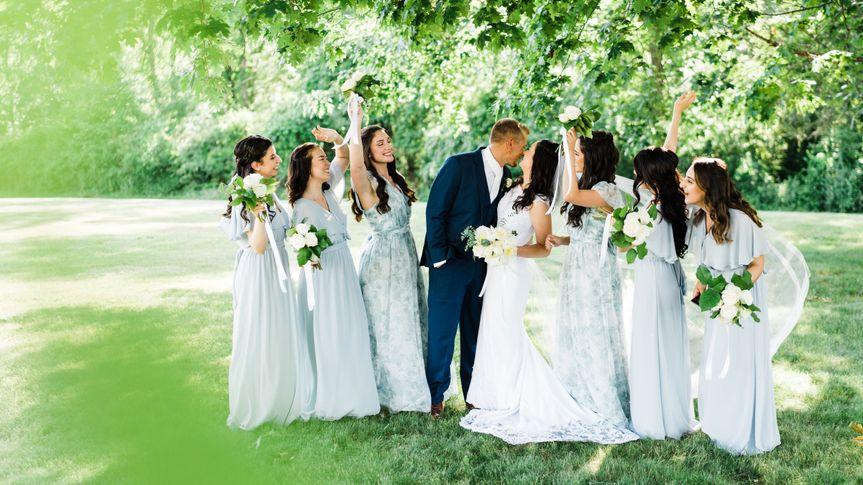A candid bridesmaids pose