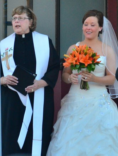 Bride and officiant