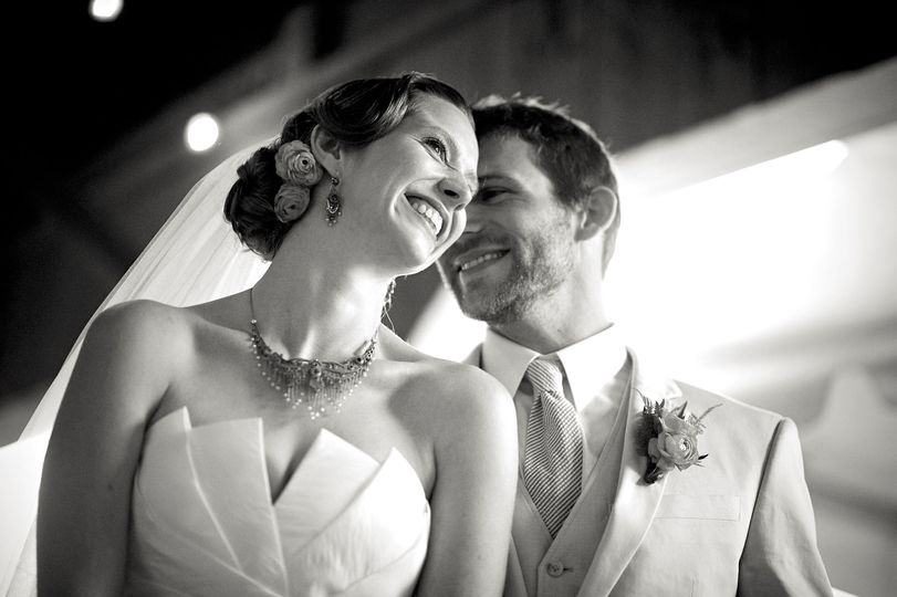 Couple smiling in black and white