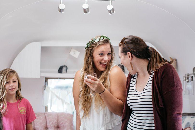 Bride in her trailer
