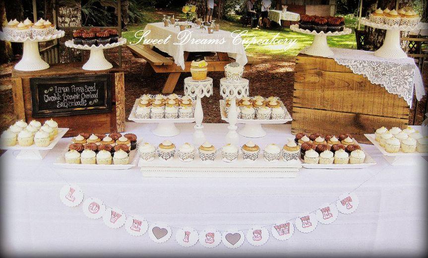 """Rustic Elegance~Wedding Cupcake dessert table, with custom """"Bride & Groom"""" cupcake"""