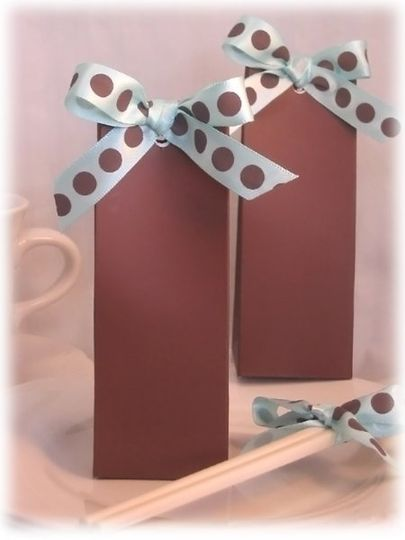 unique favor boxes with satin dots ribbon available with other colors ribbon too
