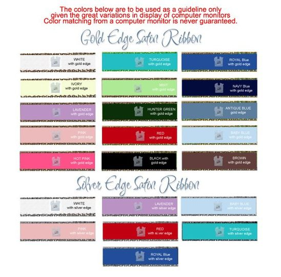 personalized ribbon with gold edge colors personalized ribbon with silver edge colors