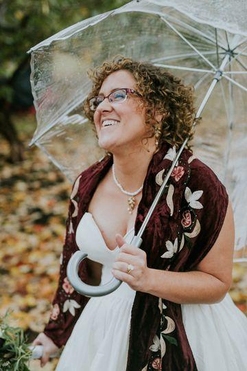 Bride with transparent umbrella