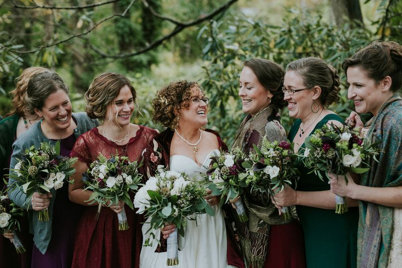 Bride with the bridesmaids
