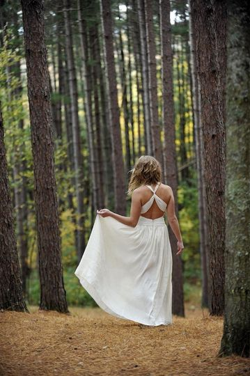 athena is a backless goddess wedding dress with st