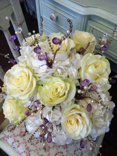 White roses with violet