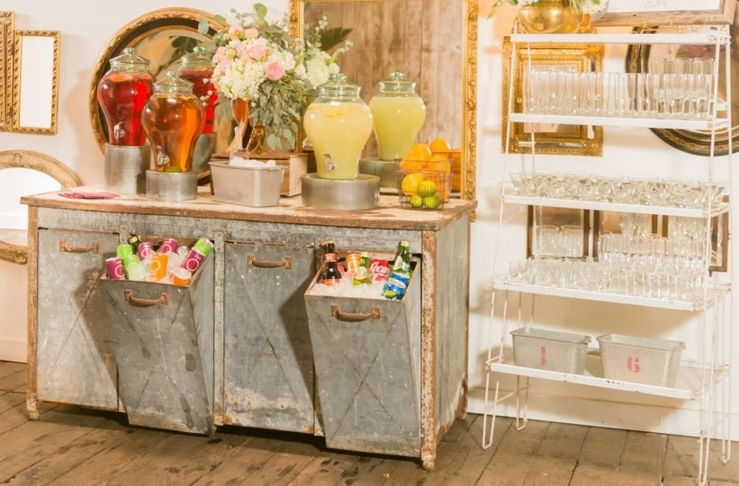 beverage station with glass rack