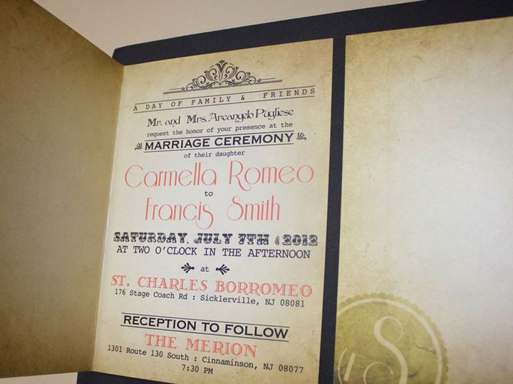 Tmx 1477758909799 Portfolio Vintage Wedding Invitation Sinatra Class West Long Branch wedding invitation