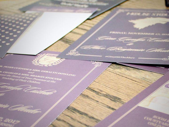 Tmx 1511323940458 Game Of Thrones Wedding Purple Gold 2 West Long Branch wedding invitation