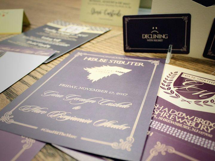 Tmx 1511324042753 Game Of Thrones Wedding Purple Gold 5 West Long Branch wedding invitation