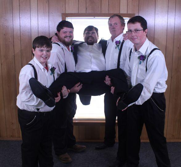 Having fun with his groomsmen