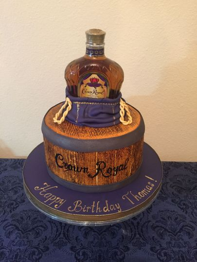 Crown Royal birthday cake. All decorations are edible except the bottle.