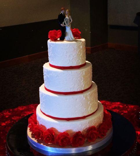 Wedding cake with handmade sugar roses