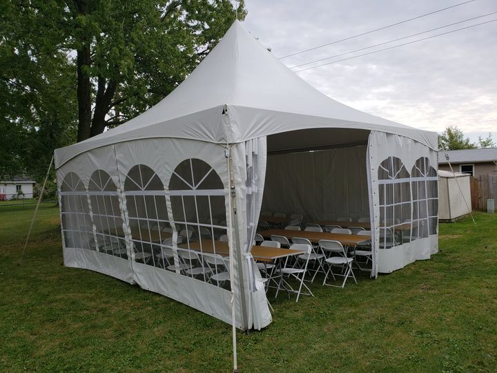 20X20 tent with side features
