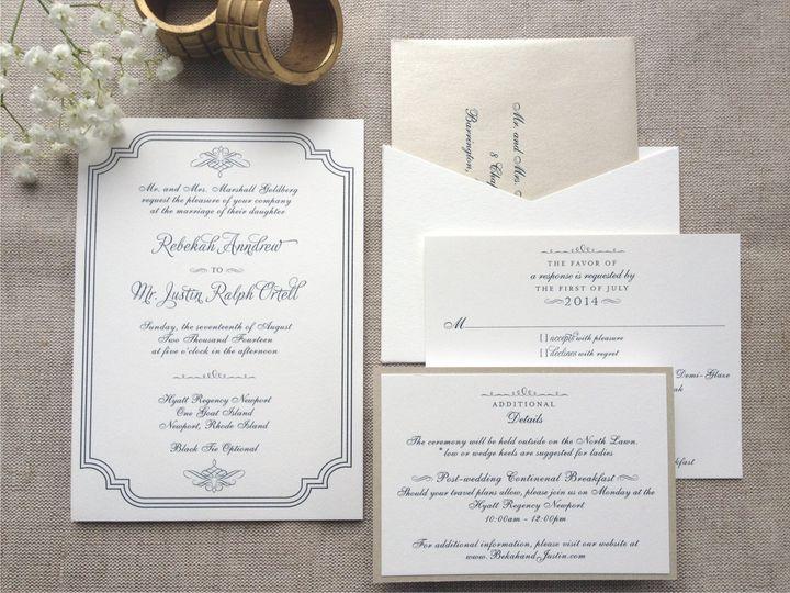 Tmx 1426616743870 Traditional Invitation With Navy Thermography Cranston, RI wedding invitation