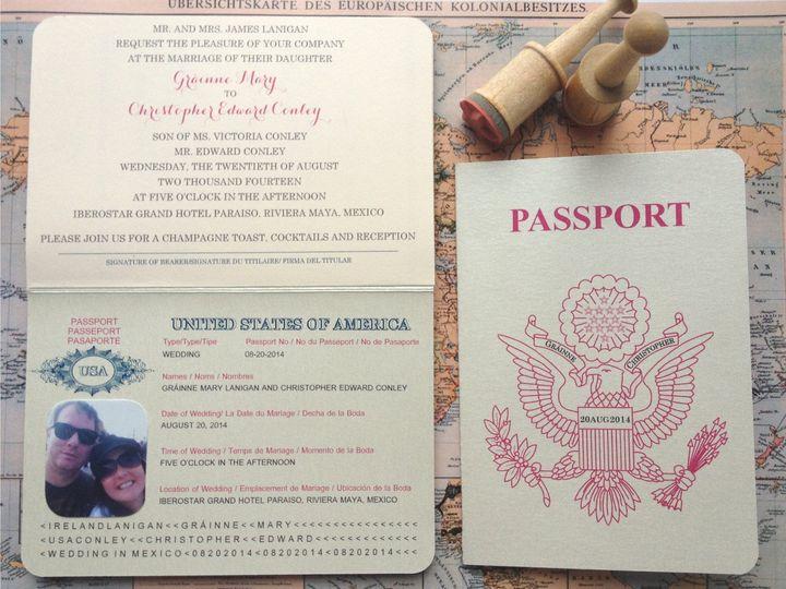 Tmx 1426616786199 Passport Ivitation Outside Cranston, RI wedding invitation