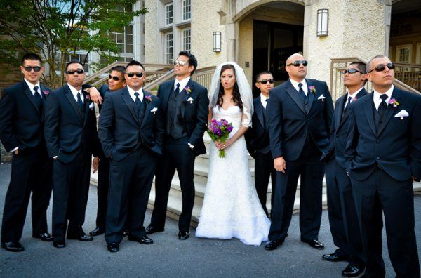 The couple and groomsmen