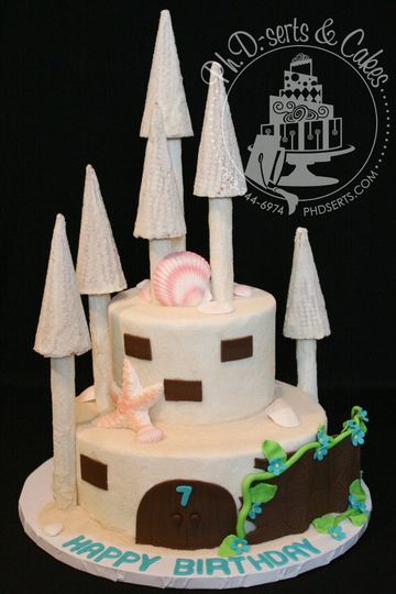 A fun, out-of-the-box wedding cake in the shape of a sand castle!