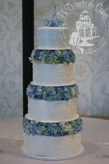 An all-buttercream cake adorned with hand-piped scrollwork and dots.  Cakes were separated by...