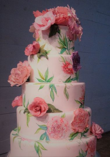 Peony Pink Cake with edible flowers by Queen Anne's Lace Cakes