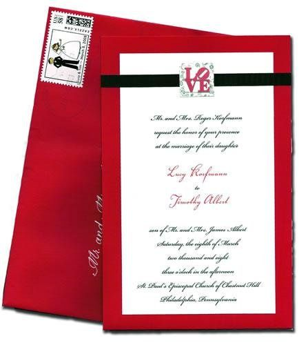 """Wedding Invitation -Custom """"LOVE"""" park in Philadelphia theme."""