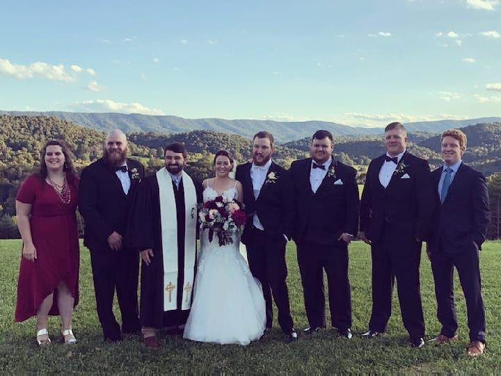 The couple, their party, and the reverend
