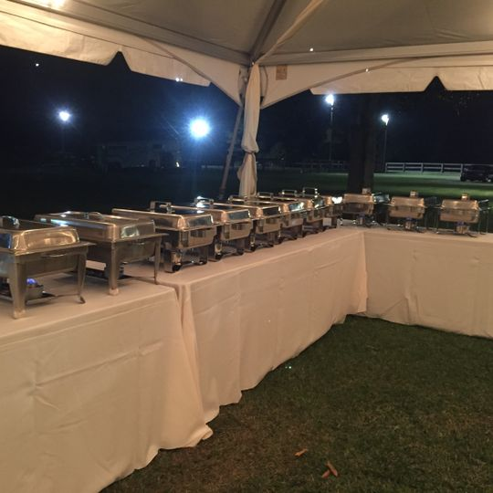 Wedding reception catering at a horse ranch