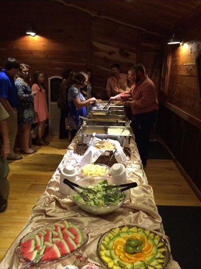 Wedding reception catering at Cedar Post Barn