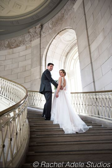 Couple on grand staircase