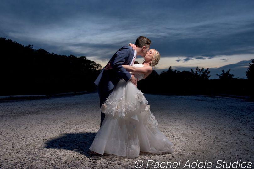 Couple embraces at dusk
